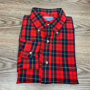 Pendleton Red & Green Tartan Plaid Wool Shirt L